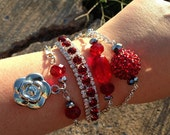 Red Rose Charm Bracelet Set- Red fashion jewelry bracelet set- Prom Jewelry-Bridal Jewelry- Jewelry gift