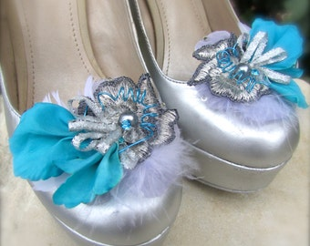 Wedding Shoe Clips Turquoise and Silver