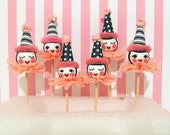 Doll Head/Princess Pink  Cupcake Toppers