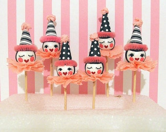Pink and White Doll Cupcake Toppers/ Doll Party/ Tea Party