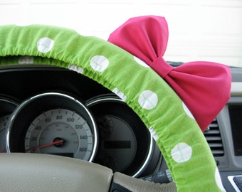 Steering Wheel Cover Bow, Large Lime Green and White Polka Dot Steering Wheel Cover with Hot Pink Bow BF11072
