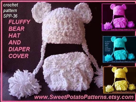 Baby Crochet Pattern - Fluffy Baby Bear Hat and Diaper Cover  Instant Download PDF  SPP-36  4 sizes, preemie to 1 year.