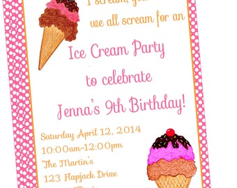 Sweet and Simple Ice Cream Party Invitation-DIY PRINTABLE