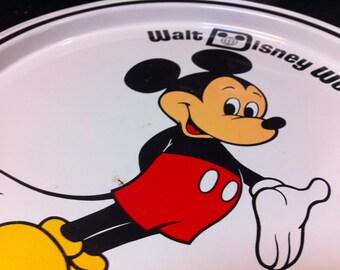 60s Mickey Mouse collectible, Mickey Mouse decorative tray, vintage Disney Souvenir plate,  Mickey wall decor, Walt Disney World Collectible