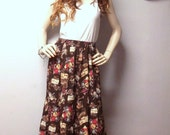 Brown Coffee Time Maxi Skirt  Vintage 90's  Sz  Small