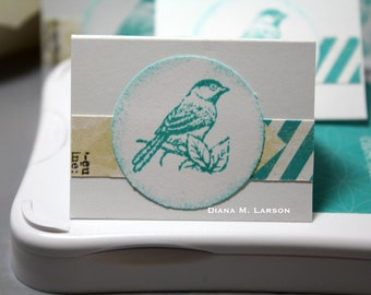 Tiny envelopes, Lagoon skylark bird Mini mini note cards (set of 4)