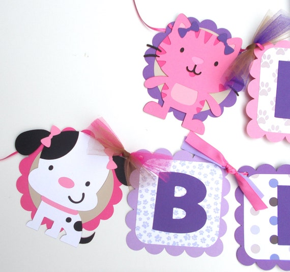 Cat Birthday Banner: Puppy Dog And Kitty Cat Party Cute Girly Themed Happy Birthday