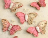 small fushia paper butterfly wild butterflies 1480-127 (7 pcs) wedding invitation embellishment tiny paper crafting butterflies scrapbooking