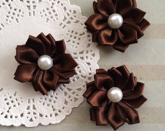 """6 Small Brown Fabric Flowers - 1.5 """" Satin ribbon flowers with pearl centers  flat back - Sweetheart accent flowers dark chocolate brown"""