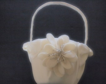 Flower Girl Basket Wedding Ivory
