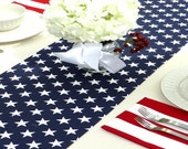 Navy Blue Stars Table Runner - Wedding Gift Table Runners Decorative Holidays - You Select Size