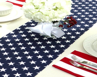 Choose your Table Runner, Navy Blue Stars Table Runner - Wedding Gift Table Runners Decorative Holidays - You Select Size