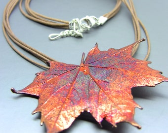 Four Strand Iridescent Maple Leaf Necklace/Pin