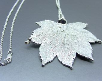 Silver Full Moon Maple Leaf Necklace