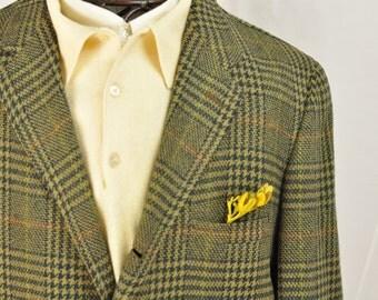 1960's Mens Jacket Sport Coat Houndstooth Plaid  Retro Lime Green Lining 40Long Mens Medium Tall