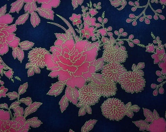 Bright pink peony, navy blue, gold metallic, fat quarter, pure cotton fabric