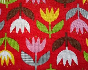 Big tulip, on red, fat quarter, pure cotton canvas fabric