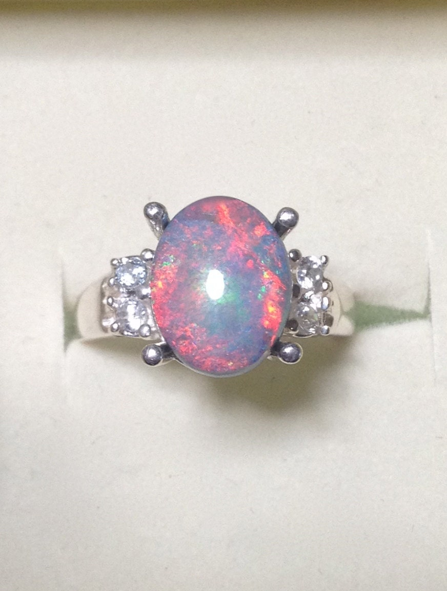 Amazing Australian Black Opal Ring with Genuine White Diamonds Black Opal Rings