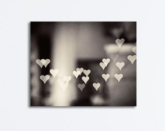 "Love Black and White Canvas Art - heart photography neutral abstract dark sparkle wall print grey gray brown gallery wrap, ""Love Endures"""