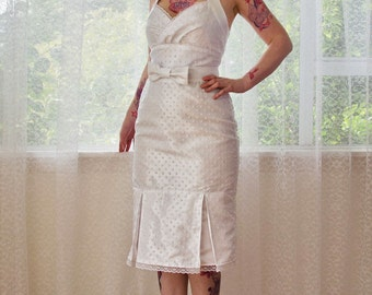 "1950's Pin up Wedding Dress ""Rosalia"" with a Wiggle Skirt, Polka Dot Overlay, Kick Pleat and Bow Belt - Custom made to fit"