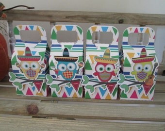 Fiesta Owls Favor Boxes Set of 12