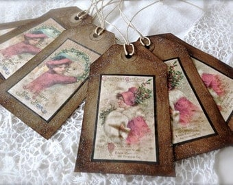 Vintage Inspired Christmas Gift Tags - Set of 6 - Glittered Victorian Girl Gift Tags - Primitive Victorian Christmas - Paper Ephemera