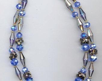 Awesome 2-strand vintage Vendome necklace - sapphire and heliotrope Swarovski crystals