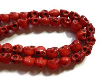 Howlite Skull - Red - Skulls - 10mm x 8mm - 40 beads - Full Strand