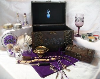 Custom Pagan Altar Set - Crafted to your Specifications - Handcrafted, Embellished Tools  this example: Triple Moon Goddess