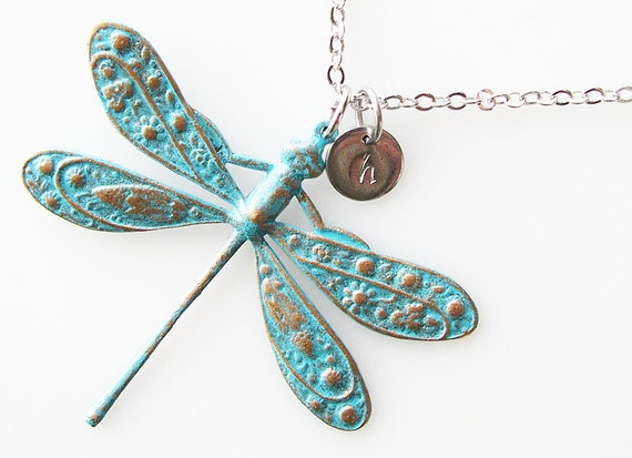 rustic dragonfly necklace, personalized necklace, verdigris patina jewelry, long necklace, animal bug insect jewelry nature, rustic necklace