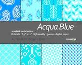 "Digital Paper + Acqua Blue  + Scrapbook Quality Paper Pack  (8.5x11""- 300 dpi)   8 sheet pack paper  038 + Instant Download +"