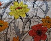 Vintage Floral Linen Fabric 3 yards