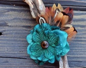 Fascinator - Hair Clip - Pheasant Feathers - Turquoise - Hydrangea - Tigers Eye