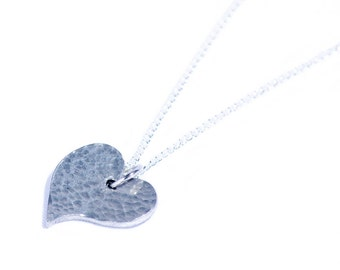 Tin 10 Years Anniversary Gift For Her - Offshapped Heart Pendant.