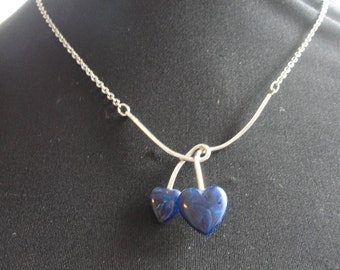 Vintage jewelry two blue hearts
