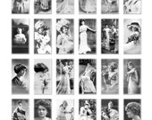 Digital Clipart, instant download, Vintage Ladies, Domino Tile, fancy--Digital Collage Sheet (8.5 by 11 inches) 24 1 by 2 inch images  55