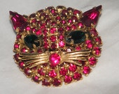 Vintage Prong Set Ruby Red Pave Crystal Faceted Rhinestone Gold Tone Cat Figural Brooch Pin