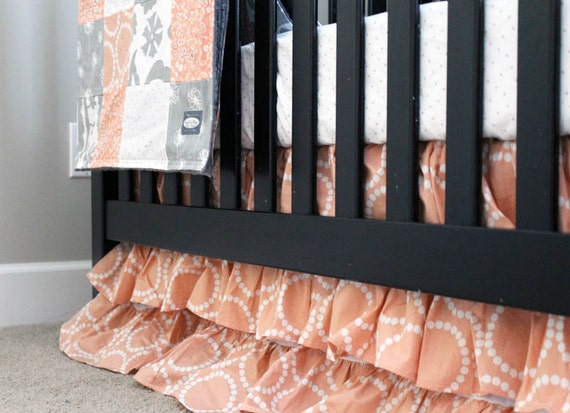 custom crib bedding peach and grey baby bedding reserved. Black Bedroom Furniture Sets. Home Design Ideas