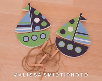 Custom Designed Wooden Sailboat Picture Clips/Art Clips - (transportation, boat) Created to Match with Nursery Letters