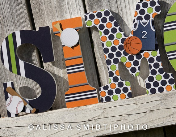Custom Nursery Wooden Letters Baby Nursery Sports Theme