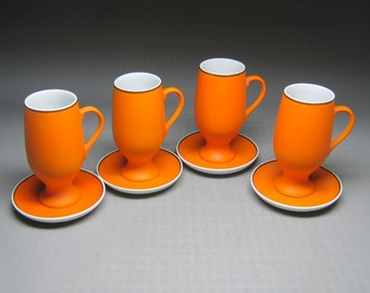 vintage LAGARDO TACKETT for SCHMID set of four orange cups and saucers