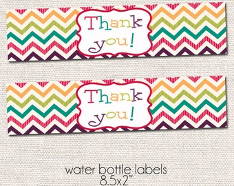 Thank You Water Bottle Labels - Printable Party Accessories - Instant Download