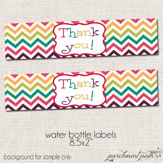 Thank You Water Bottle Labels Printable Party Accessories