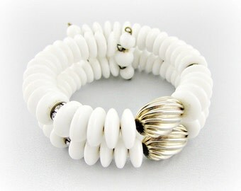 Vintage Milk Glass Bracelet, Designer DALSHEIM Bracelet, White Glass Disk Bracelet, Coiled Wire Wrap Bracelet, 1950s Antique Costume Jewelry