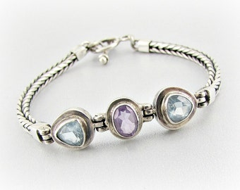 Vintage Sterling Silver Bracelet, Blue Topaz & Amethyst Gemstone Bracelet, Braided Sterling Chain Bracelet, 1980s Fine Estate Jewelry