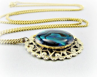 Vintage Abalone Shell Necklace, Gold Filigree Pendant Necklacee, Blue Shell Necklace, Gold Chain, 1970s Victorian Revival Jewelry