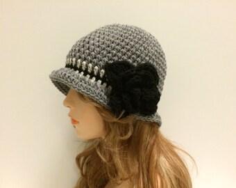 Crochet Cloche Flapper Hat - GREY/ LINEN-BLACK