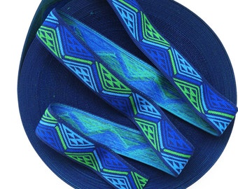 "2"" Multi-Coloured Navy Blue Base Aztec Print Stretch Elastic Band"