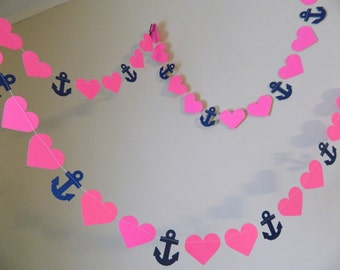 Nautical Wedding Decorations / 10ft Anchors Hearts Garland / Navy and Hot Pink bridal shower decor / your color choice