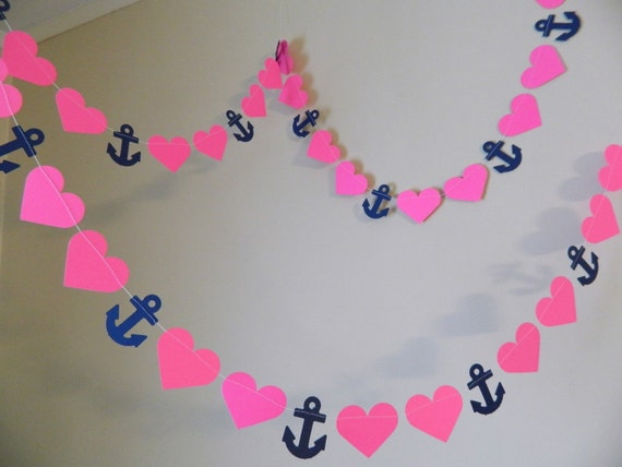 Anchor Heart Garland / 10ft Anchors Hearts Garland / Navy and Hot Pink bridal shower decor / Nautical wedding decor / your color choice